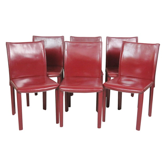 Casillas Red Leather Side Chairs - Set of 6 - Image 1 of 5