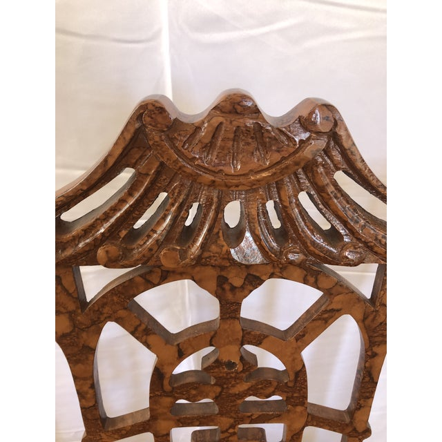 Gold Vintage Pagoda Wooden Carved Dining Chairs - Set of 4 For Sale - Image 8 of 13