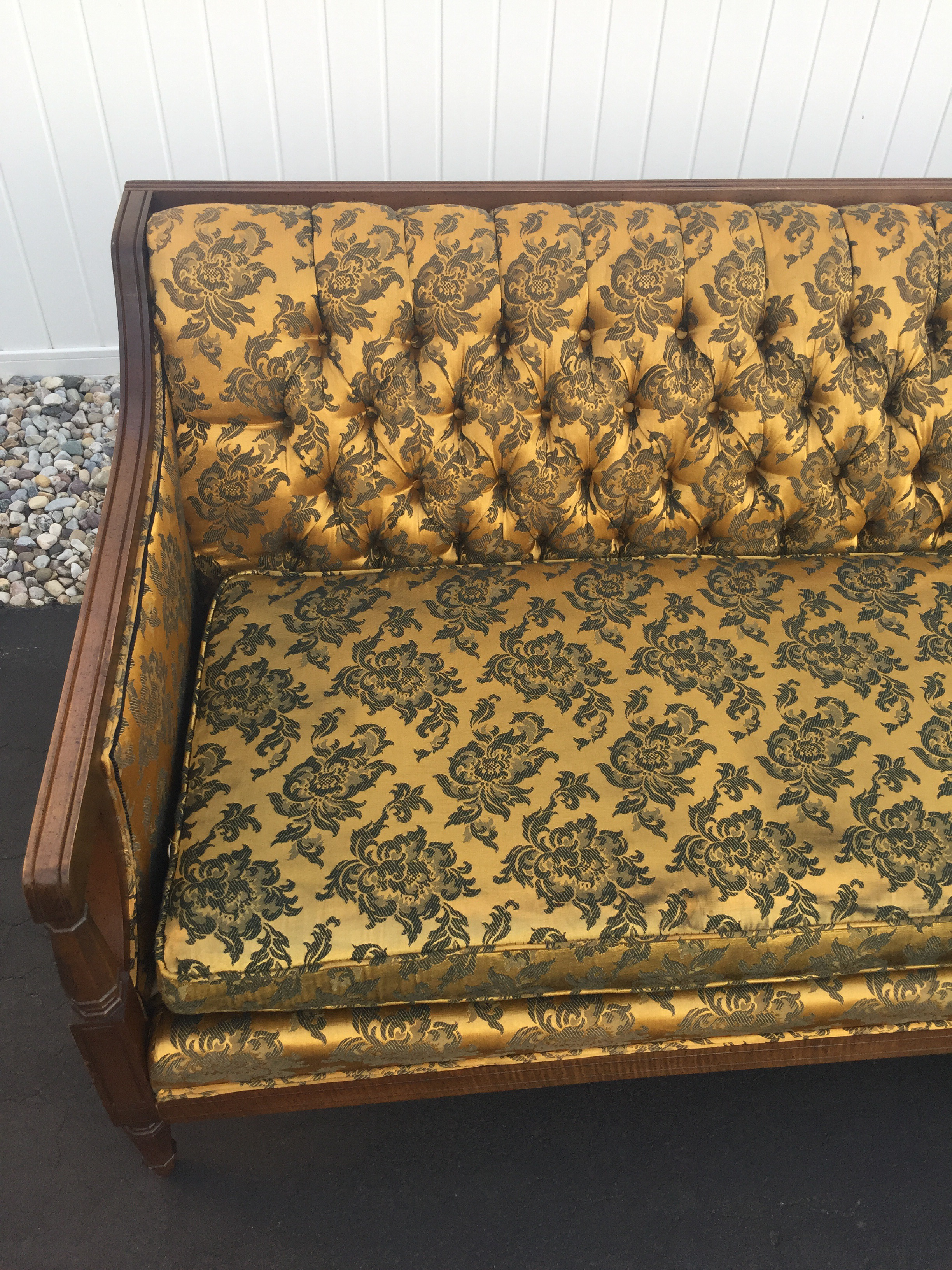 Hollywood Regency Gold U0026 Black Brocade Sofa   Image 3 Of 10