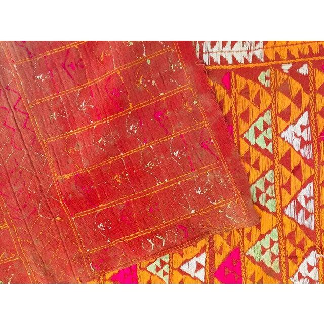 Tribal Phulkari Wedding Shawl, Silk Embroidery on Cotton, Punjab India 20th Century For Sale - Image 3 of 13
