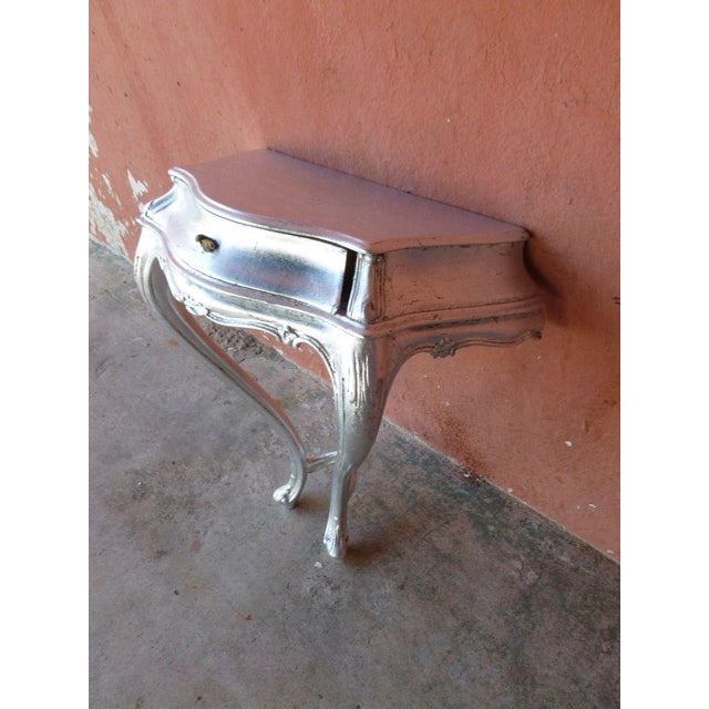 1960s Mid Century Modern Silver Leaf Wall Console Table For Sale In Miami - Image 6 of 8