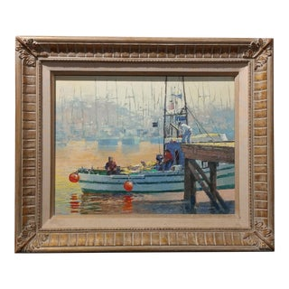 Moss Landing,CA Seascape Scene Oil Painting on Canvas Signed by Paul Youngman For Sale