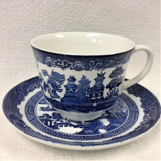 Blue Chinoiserie Willow Cups & Saucers by Johnson Brothers England Preview