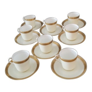 Antique Gold Gilt and White Cauldon Demitasse Cups and Saucers - Set of 16 For Sale