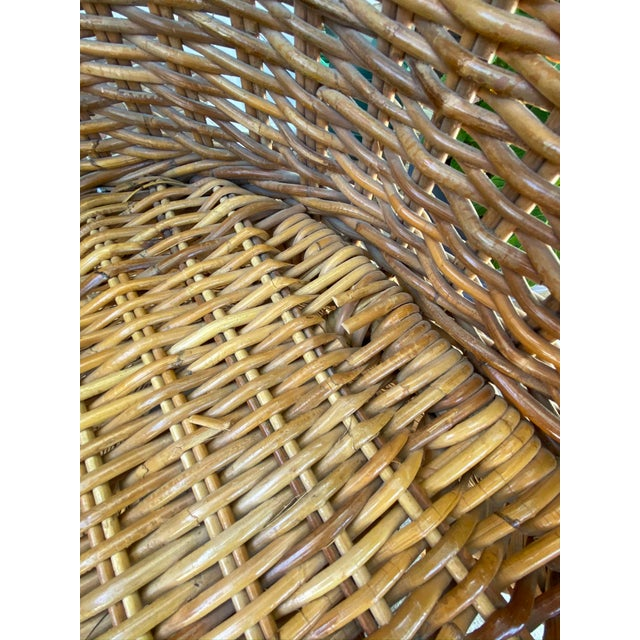 Vintage 1970's Crespi Style Woven Rattan and Bamboo Bar Stools - a Pair For Sale In Kansas City - Image 6 of 13