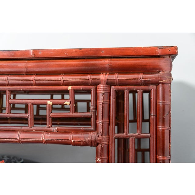 Antique Chinese Chippendale Bamboo Altar Table/Console For Sale - Image 4 of 13