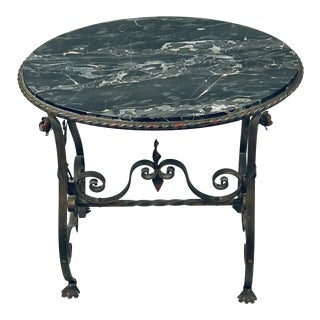1930s Italian Black Marble Table With Wrought Iron Legs For Sale