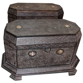 Indian Mughal Dowry or Marriage Chests With Portraits - a Pair For Sale