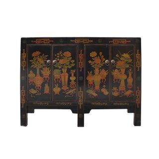 Distressed Black Base Color Flower Vases Graphic Sideboard Cabinet For Sale