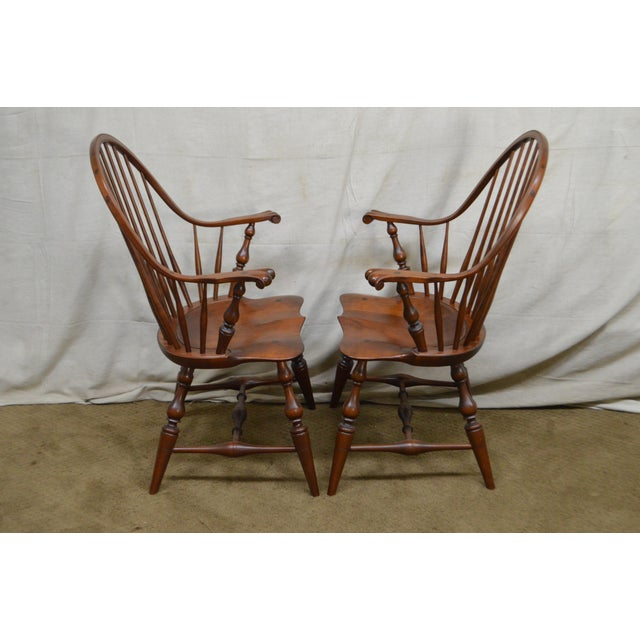 Custom Quality Pair of Solid Cherry Windsor Armchairs For Sale - Image 9 of 13