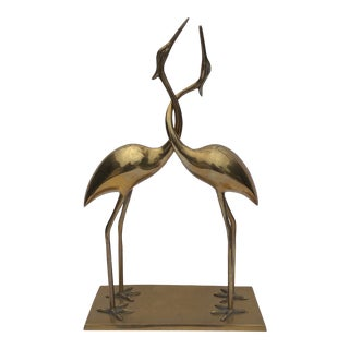 1970s Vintage Frederick Cooper Brass Cranes Embracing Sculpture For Sale