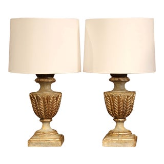 Pair of Italian Wood Carved Polychrome and Two-Tone Painted Urns Table Lamps For Sale
