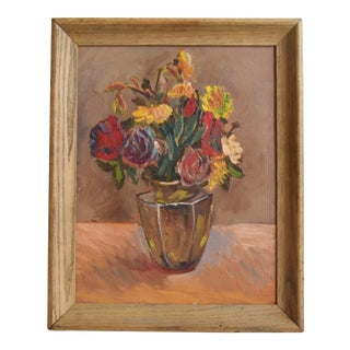 Aldrin, Still Life Bouquet Flowers in Vase Circa 1930s Oil Painting W/ Frame For Sale