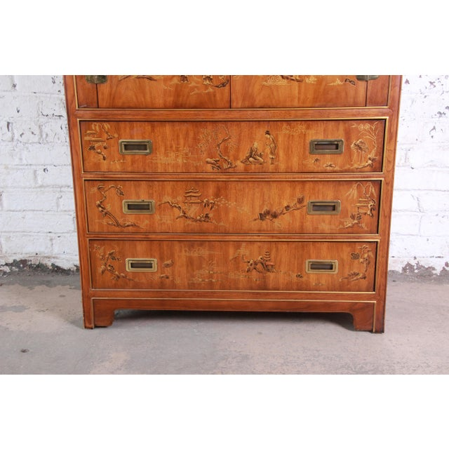 Asian Drexel Heritage Hollywood Regency Chinoiserie Armoire Dresser For Sale - Image 3 of 13