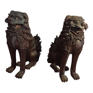 Early 20th Century Large Kuang-Hsu Patinated Bronze Foo Dogs - a Pair For Sale