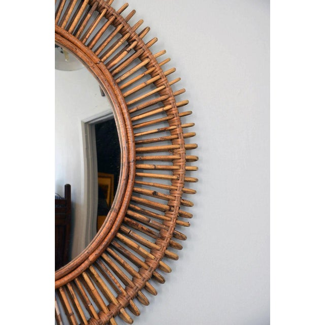 """Modern Contemporary """"Oculus"""" Round Rattan Convex Mirror For Sale - Image 3 of 5"""