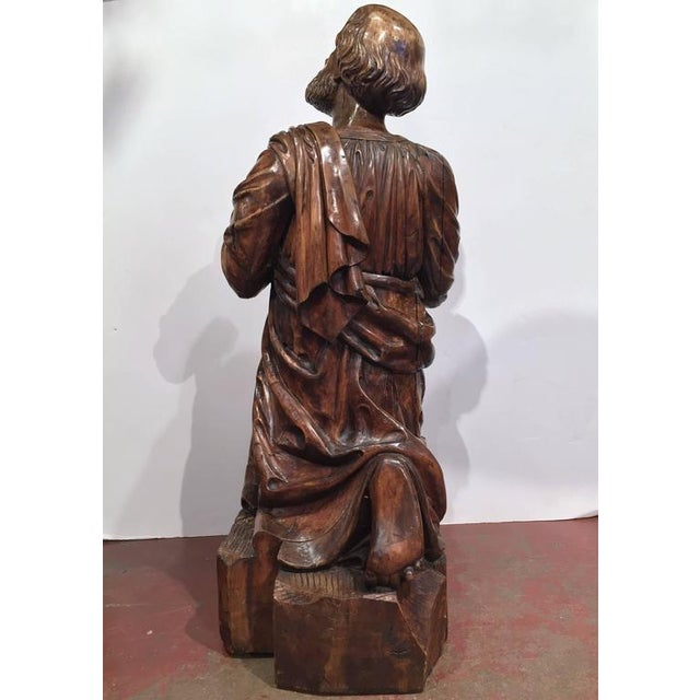 18th Century French Carved Walnut Statue of Saint Peter Kneeling For Sale - Image 9 of 10