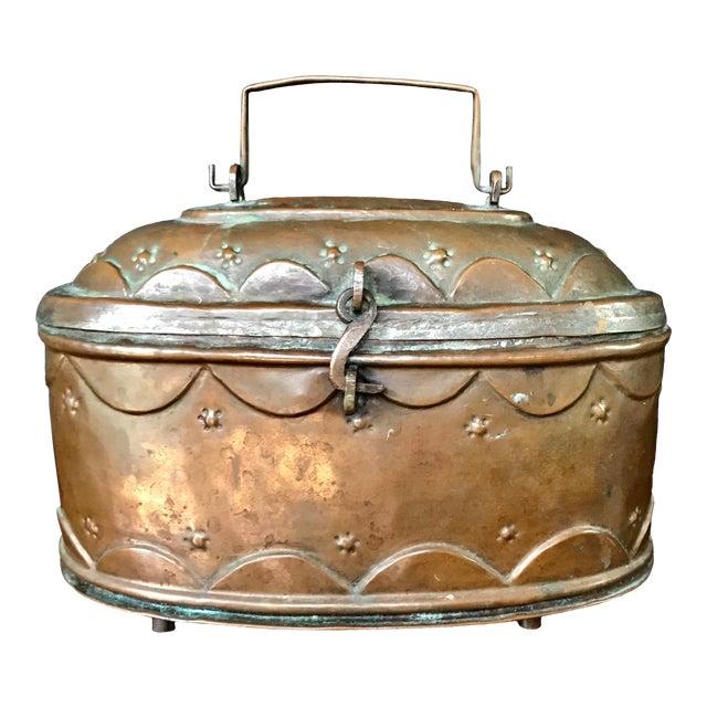 Vintage Turkish Copper Bath Lidded Soap Box For Sale