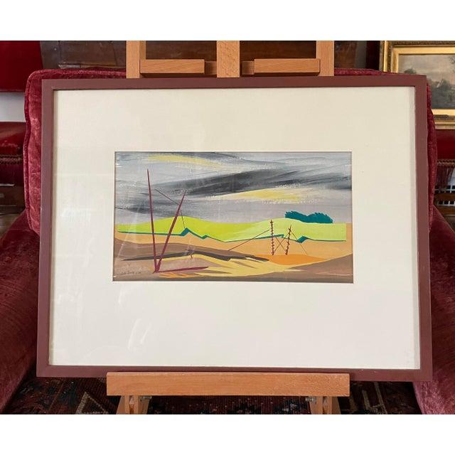 """1950s """"Mac Le Sueur"""" Landscape Gouache Painting, Framed For Sale - Image 9 of 9"""