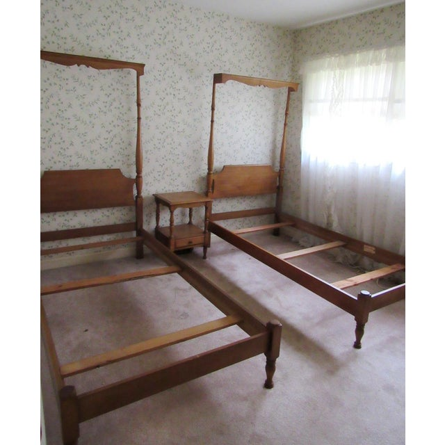 Simply wonderful pair of solid maple twin mock canopy beds by Pennsylvania House Furniture. Great for little girls....