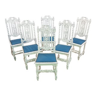 Unique Set of Six Unique Shabby Chic Baroque Jacobean Style Vintage French Country White Oak High Back Royal Blue Velvet Dining Chairs For Sale