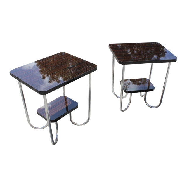 1940s Modern Exotic Macassar Ebony Side Tables - a Pair For Sale