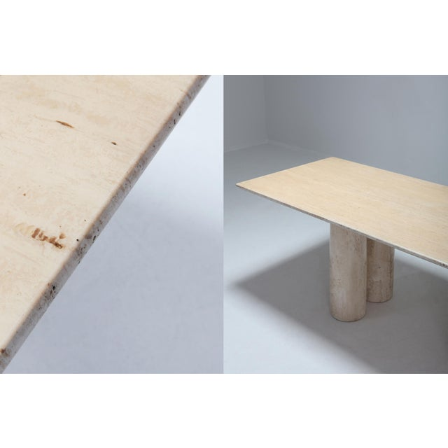 Stone Travertine Dining Table by Mario Bellini 'Il Colonnato' For Sale - Image 7 of 11