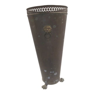 Vintage Brass and Verdigris Umbrella Stand on Lion Feet For Sale