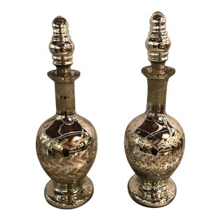 Mercury Glass Decanters - A Pair For Sale