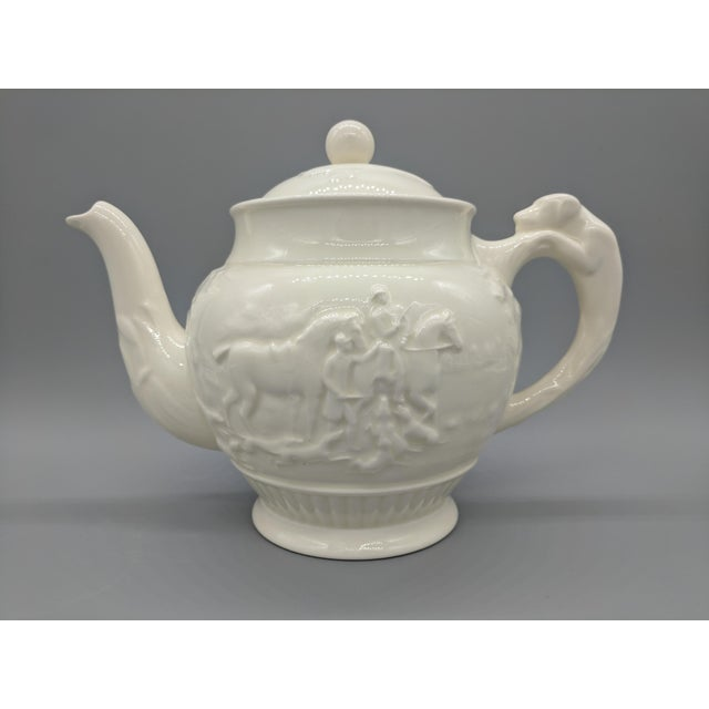English Traditional Vintage English Wedgewood Ivory Tea Set - Set of 3 - Horse and Dog Motif For Sale - Image 3 of 11