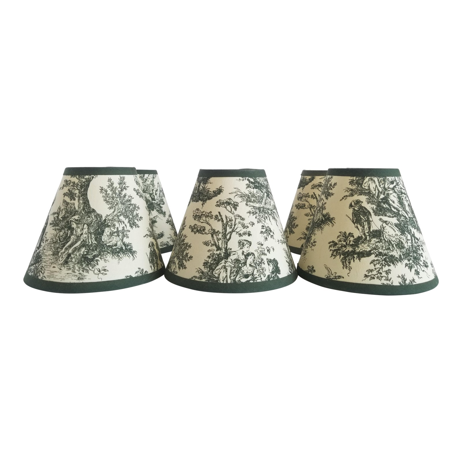 Vintage French Toile Lamp Shades Set Of 6