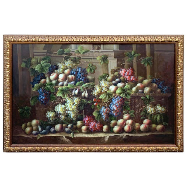 European Still Life of Grapes on a Ledge, Unsigned For Sale - Image 11 of 11