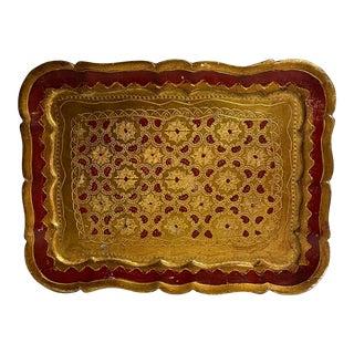 Vintage Florentine Giltwood Tray For Sale