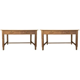 Mid-Century Modern Pair of Pine Desk With Two Drawers For Sale