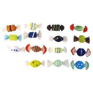 Murano Blown Glass Candy Pieces - Set of 15 For Sale