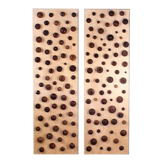 Boucliers Decorative Turned Wood Panels by Eric Thévenot - a Pair For Sale