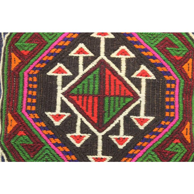 Vintage Turkish Kilim Wool Rug Pillow Case For Sale - Image 4 of 6