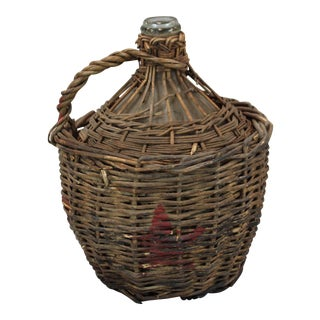 French Wine Bottle in Original Woven Basket With Handle