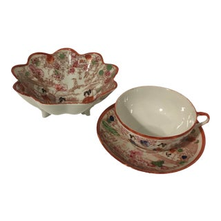 Mid 20th Century Vintage Hand-Painted Geisha Cup, Saucer and Decorative Bowl - Set of 3 For Sale