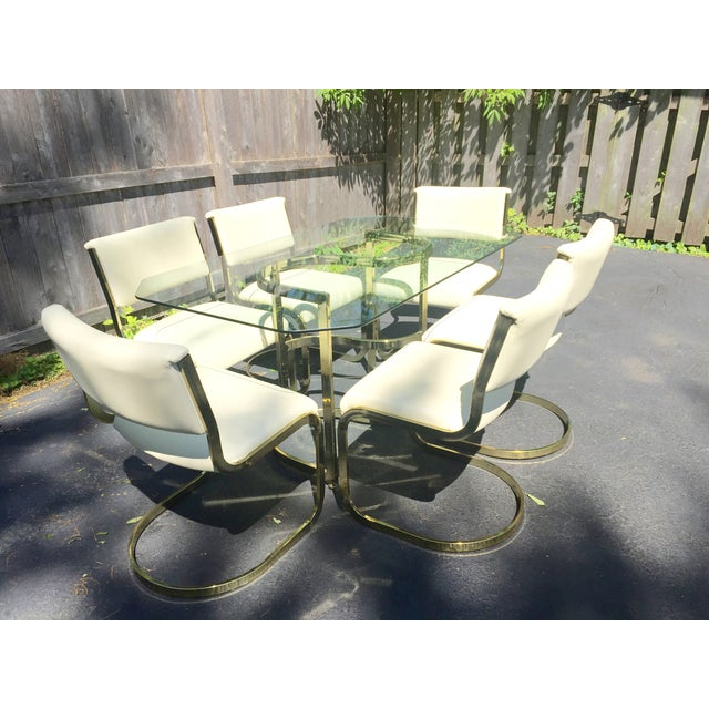 Brass & Glass Dining Set - Image 8 of 10