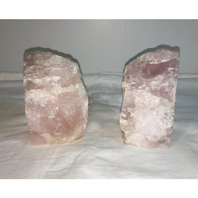 Natural Stone Rose Quartz Bookends - A Pair - Image 5 of 5