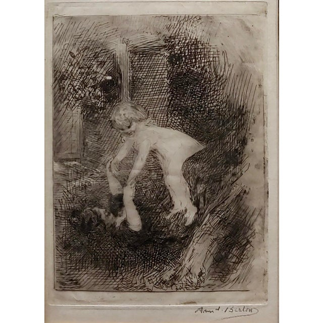 American Armand Berton - Mother & Child - Original Etching -C1900s For Sale - Image 3 of 9