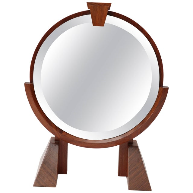 Glass Vanity Table Mirror in Mahogany, Walnut and Brass For Sale - Image 7 of 7