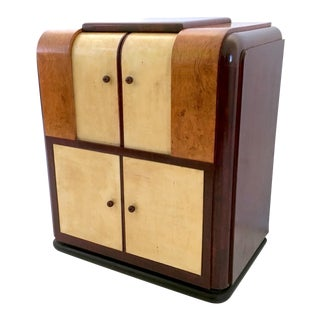 Italian Parchment and Mahogany Bar Cabinet, 1930s-1940s For Sale