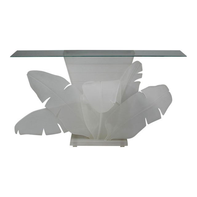 1970s Mid-Century Modern Luminous Electrified Frosted Lucite Palm Motife Console Table For Sale