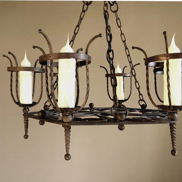 Antique Country French Wrought Iron Chandelier For Sale - Image 10 of 11