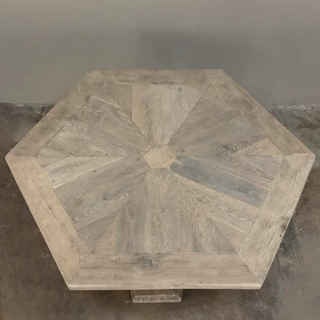 Mid-Century Neoclassical Limestone and Oak Center Table For Sale - Image 4 of 13
