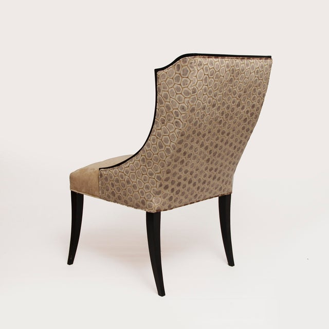 Hollywood Regency Contemporary French Art Deco Host Wingback Dining Chairs With Lap Pillows - a Pair For Sale - Image 3 of 5