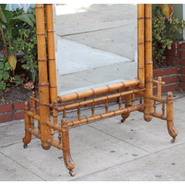 Hollywood Regency Bamboo Floor Mirror For Sale In Los Angeles - Image 6 of 13