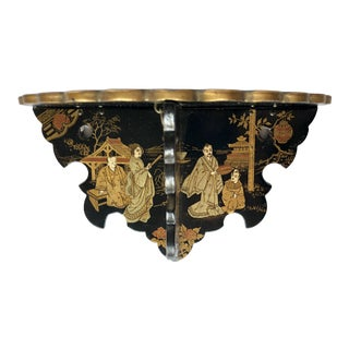 Vintage Black Gold Chinoiserie Lacquer Wall Bracket For Sale
